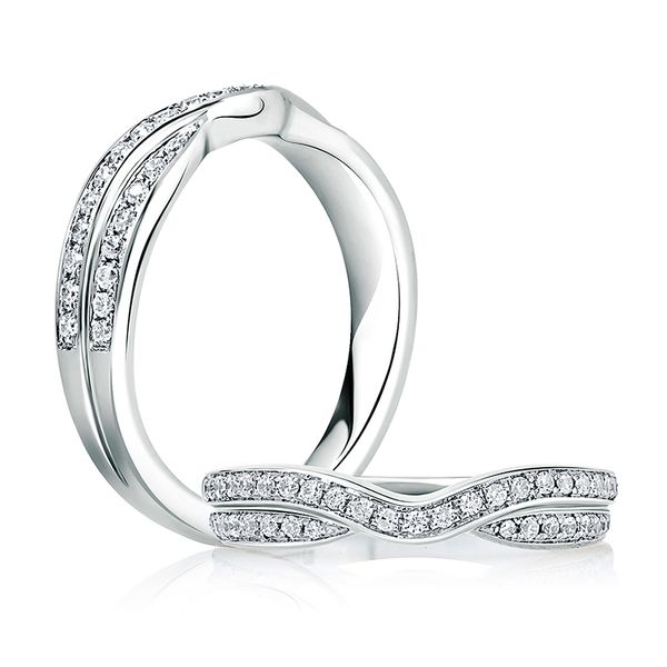 Double Row Curved Wedding Band Image 2  ,