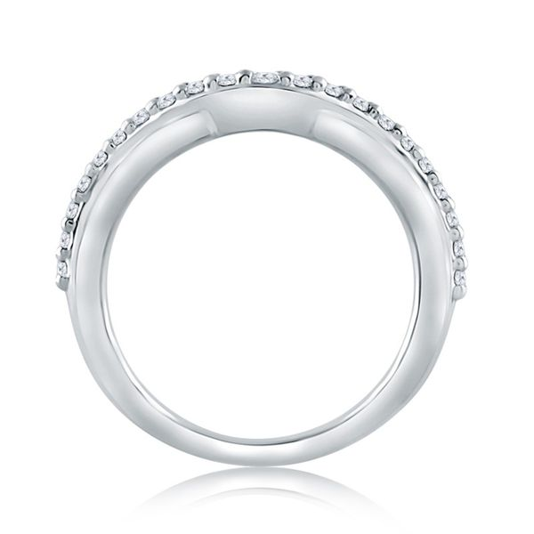 Curved Diamond and Polished Wedding Band Image 2 Mark Allen Jewelers Santa Rosa, CA