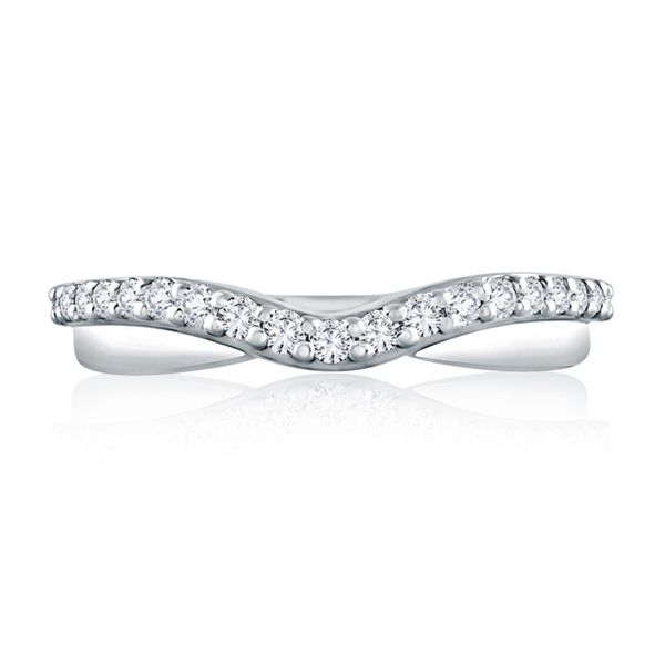 Curved Diamond and Polished Wedding Band Mark Allen Jewelers Santa Rosa, CA