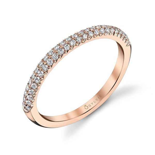 ARIELLE – ROSE GOLD & DIAMOND STACKABLE WEDDING BAND Mark Allen Jewelers Santa Rosa, CA