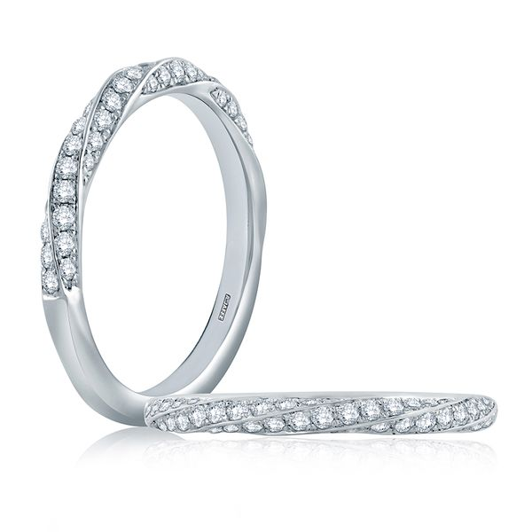 Twist Pavé Diamond Half Circle Stackable Band Image 2 Mark Allen Jewelers Santa Rosa, CA