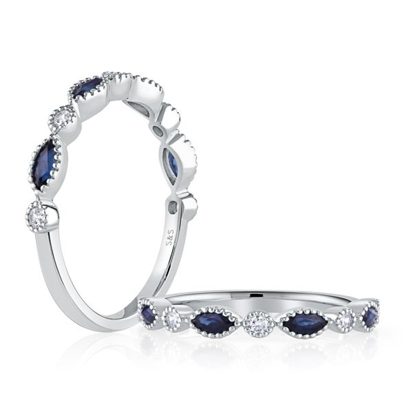 Marquise & Round Sapphire & Diamond Band Image 3 Mark Allen Jewelers Santa Rosa, CA