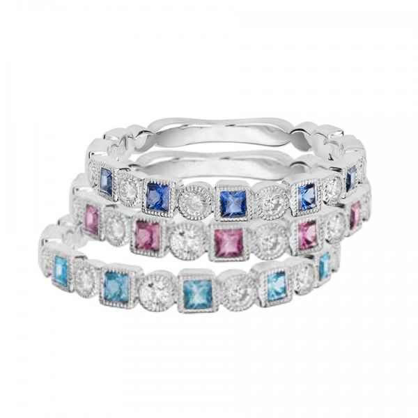 Ruby & Diamond Stackable Band Image 2 Mark Allen Jewelers Santa Rosa, CA