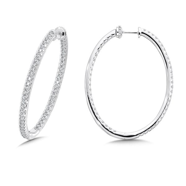 Locking Slim Reflection Diamond Hoops Mark Allen Jewelers Santa Rosa, CA