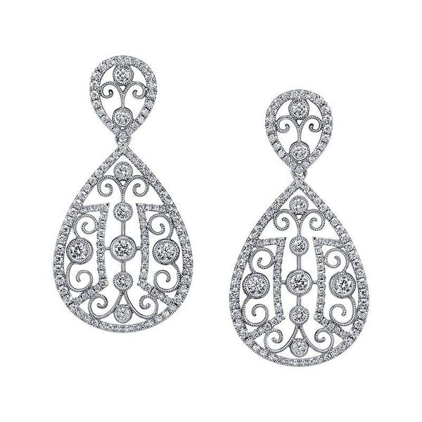 UNIQUE WHITE GOLD VINTAGE INSPIRED FASHION EARRINGS Mark Allen Jewelers Santa Rosa, CA
