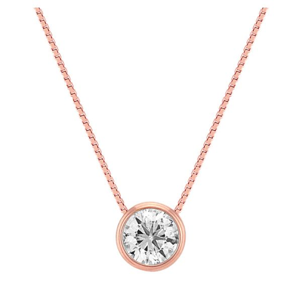 14k Rose Gold Bezel Set Diamond Pendant Mark Allen Jewelers Santa Rosa, CA
