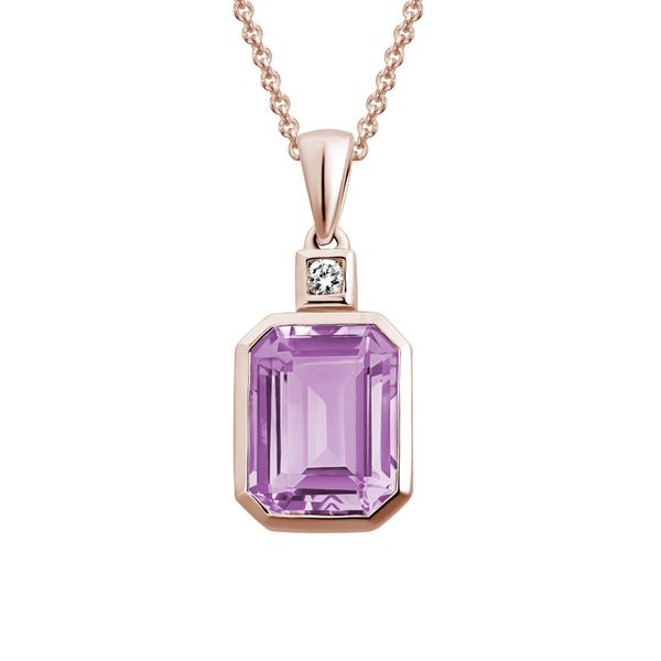 Rose Gold Pink Amethyst & Diamond Necklace Mark Allen Jewelers Santa Rosa, CA