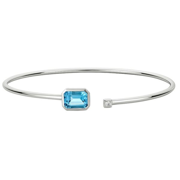 White Gold Blue Topaz & Diamond Cuff Bracelet Mark Allen Jewelers Santa Rosa, CA