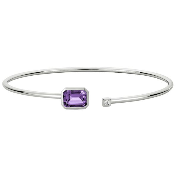 White Gold Amethyst & Diamond Cuff Bracelet Mark Allen Jewelers Santa Rosa, CA