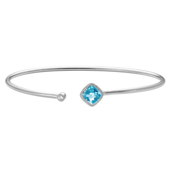 Blue Topaz & Diamond Cuff Bracelet Mark Allen Jewelers Santa Rosa, CA