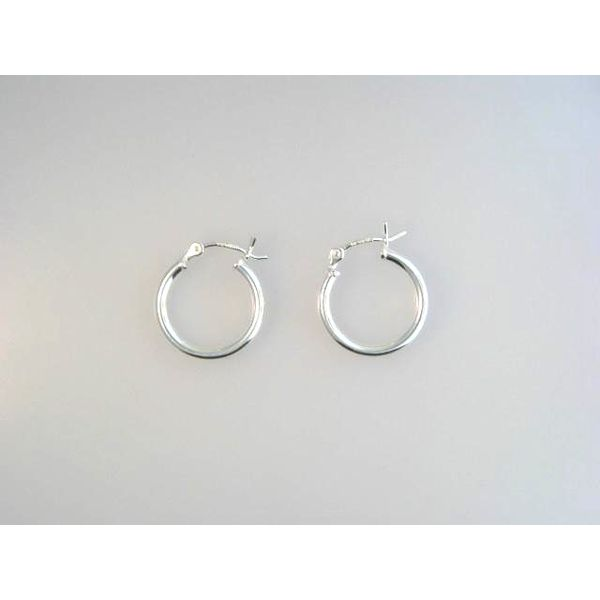 Silver Hoop Earrings Image 2 Mark Jewellers La Crosse, WI