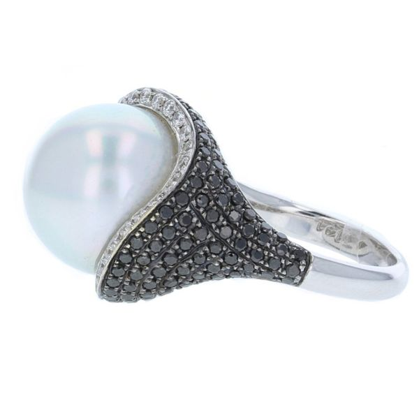 Pearl Ring with Black Diamond Image 2 McCarver Moser Sarasota, FL