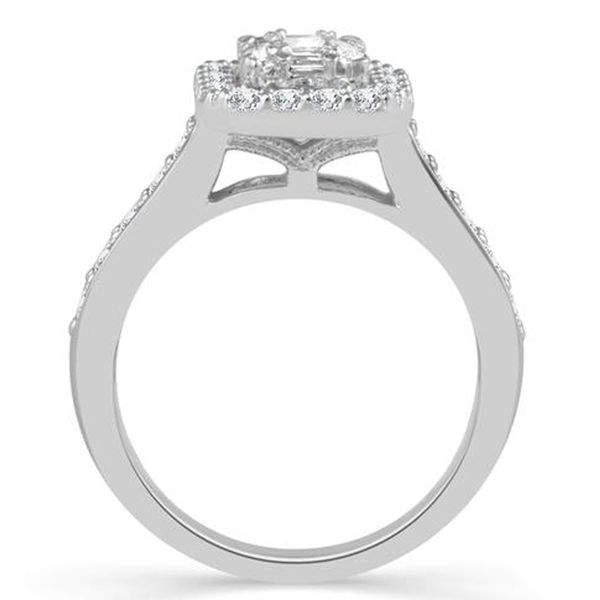 Emerald Cut Halo Diamond Engagement Ring Image 2  ,