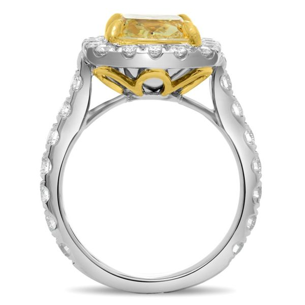 Platinum Cushion Fancy Yellow Halo Engagement Ring Image 3 Meigs Jewelry Tahlequah, OK