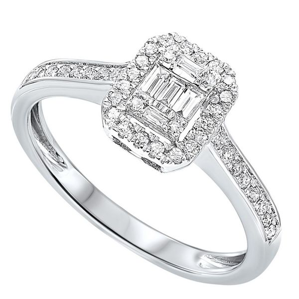 Round & Baguette Diamond Halo Engagement Ring Meigs Jewelry Tahlequah, OK