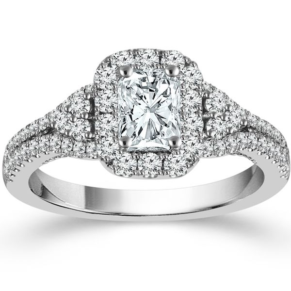 Radiant Diamond Halo Engagement Ring Meigs Jewelry Tahlequah, OK