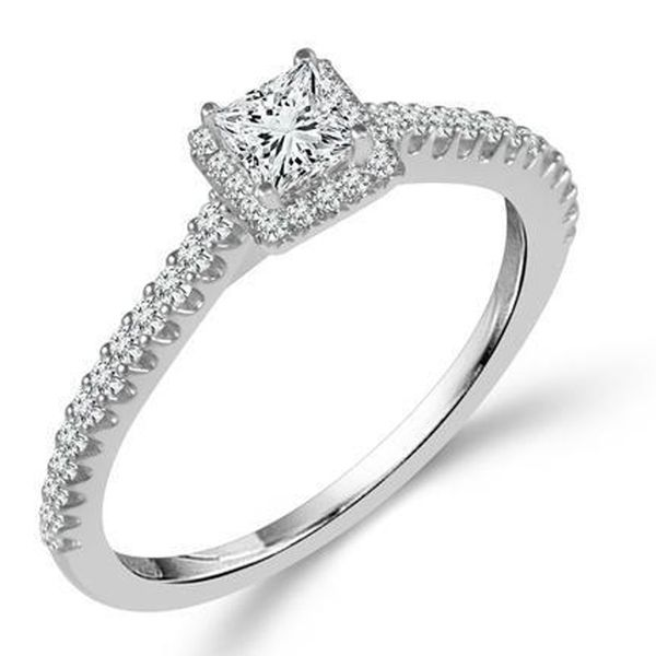 Princess Cut Halo Diamond Engagement Ring Meigs Jewelry Tahlequah, OK