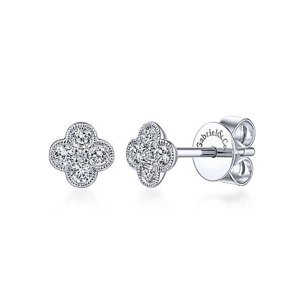 14k White Gold Diamond Clover Stud Earrings