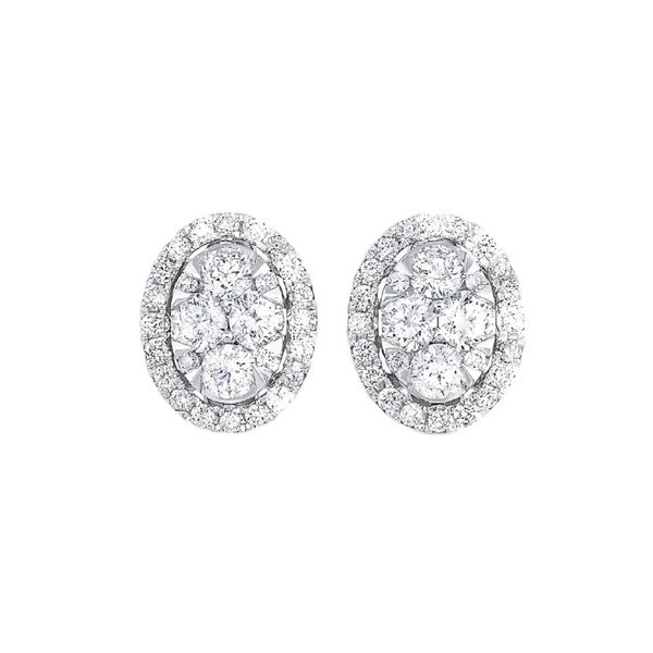 Oval Cluster Diamond Halo Earrings Meigs Jewelry Tahlequah, OK