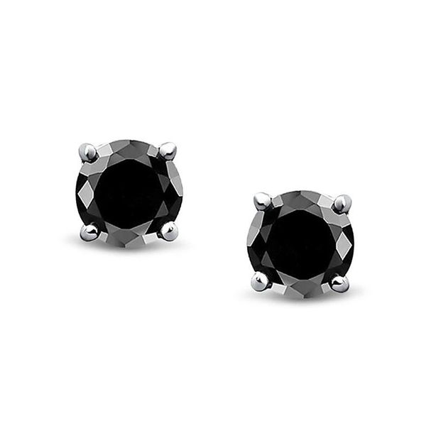 Round Black Diamond Stud Earrings Meigs Jewelry Tahlequah, OK