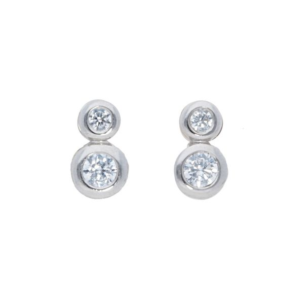 Round Diamond Bezel Earrings Meigs Jewelry Tahlequah, OK