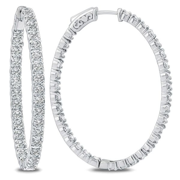 14K White Gold Oval Hoops Meigs Jewelry Tahlequah, OK
