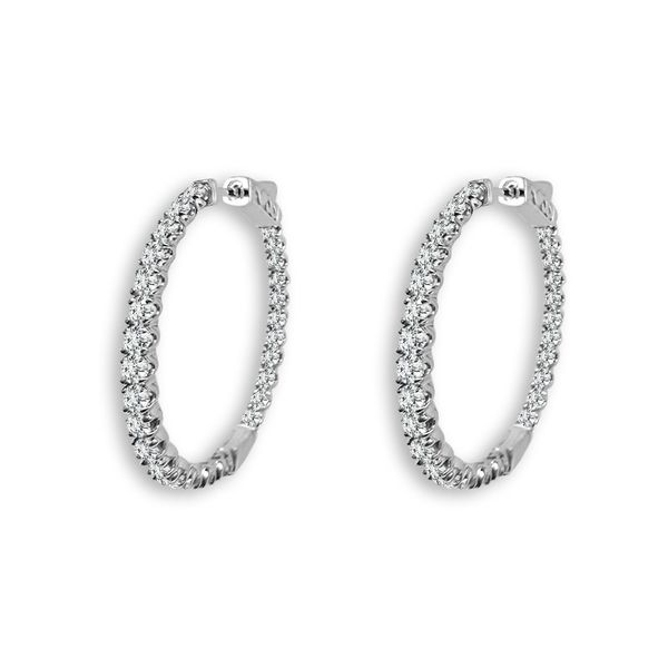 White Gold In & Out Diamond Hoops Meigs Jewelry Tahlequah, OK