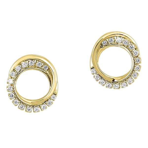 Yellow Gold Polished & Diamond Circle Stud Earrings Meigs Jewelry Tahlequah, OK