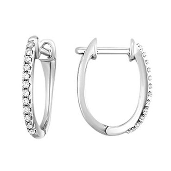 White Gold Small Diamond Hoop Earrings Meigs Jewelry Tahlequah, OK