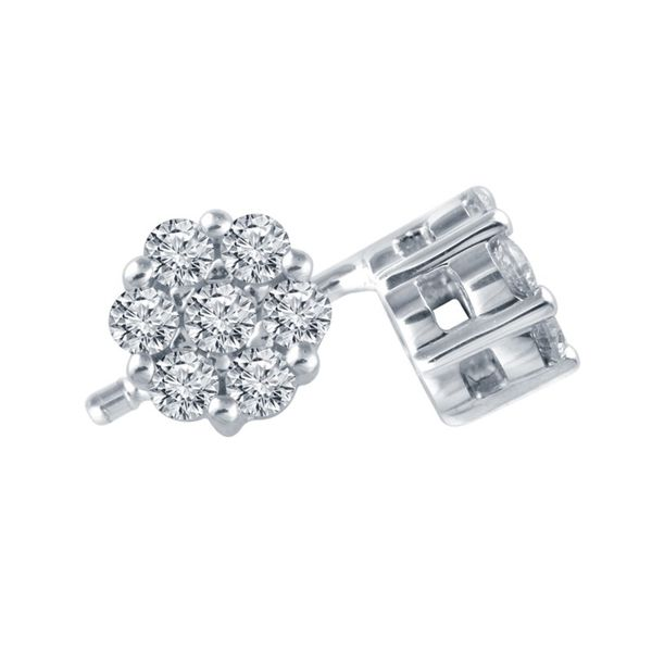 White Gold Diamond Cluster Stud Earrings Meigs Jewelry Tahlequah, OK