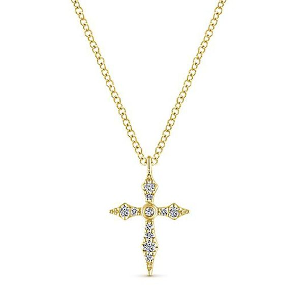 14kt Yellow Gold Sculpted Diamond Cross Necklace Meigs Jewelry Tahlequah, OK