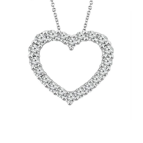 10 Karat White Gold Small Diamond Heart Necklace Meigs Jewelry Tahlequah, OK