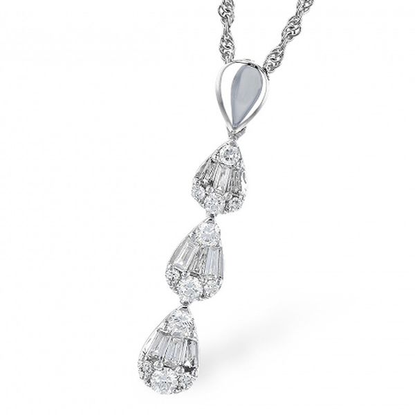 White Gold Diamond Drop Necklace Meigs Jewelry Tahlequah, OK