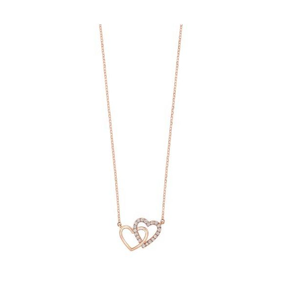 Rose Gold Double Heart Necklace Meigs Jewelry Tahlequah, OK