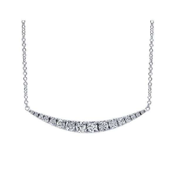 Gabriel & Co. Curved Diamond Bar Necklace Meigs Jewelry Tahlequah, OK