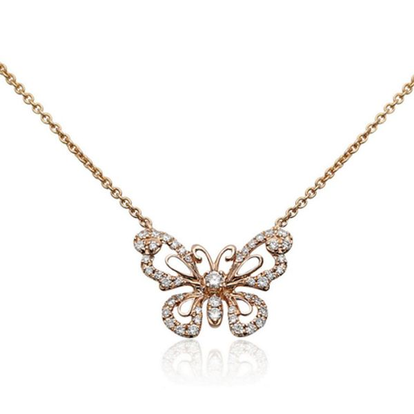 Rose Gold Diamond Butterfly Necklace Meigs Jewelry Tahlequah, OK