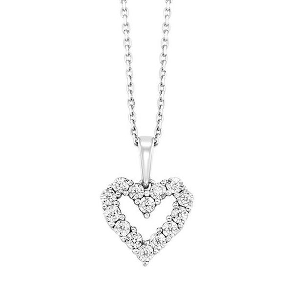 White Gold Diamond Heart Necklace Meigs Jewelry Tahlequah, OK