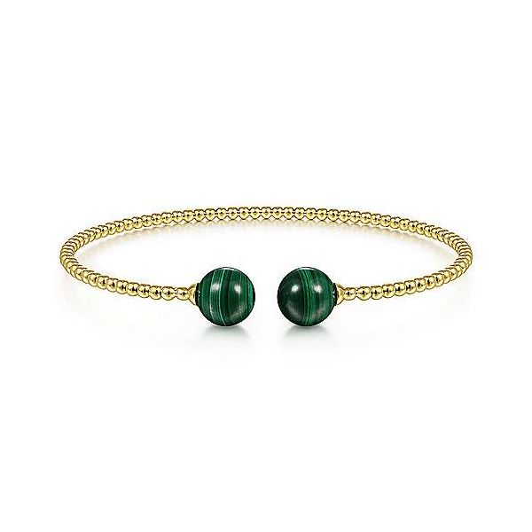 Gabriel & Co. Yellow Gold Malachite Bujukan Bracelet Meigs Jewelry Tahlequah, OK