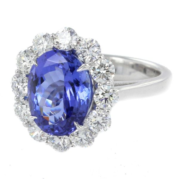 Tanzanite & Diamond Halo Custom Ring Image 2  ,