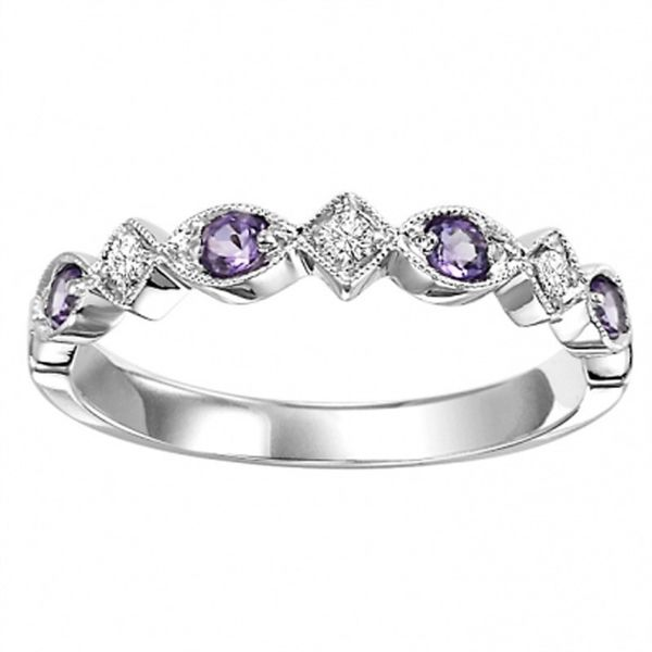 Amethyst and Diamond Stackable Ring Meigs Jewelry Tahlequah, OK