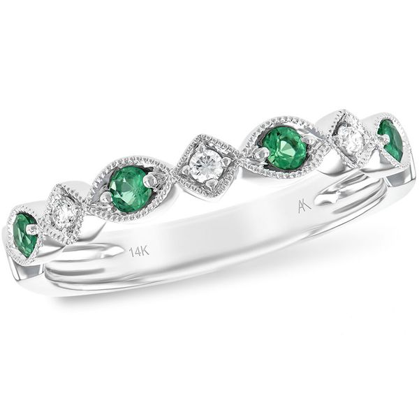 14KT WHITE GOLD EMERALD AND DIAMOND BAND Meigs Jewelry Tahlequah, OK