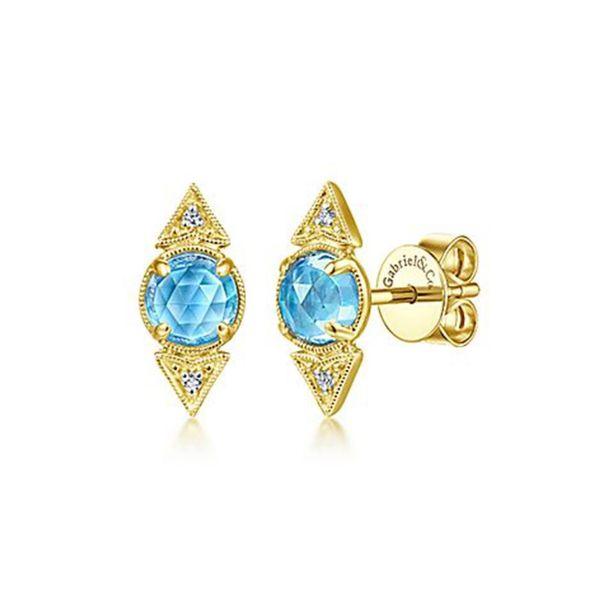 16d28006487e9 Blue Topaz & Diamond Stud Earrings