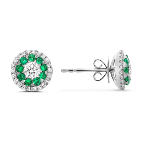 Emerald & Diamond Stud Earrings Meigs Jewelry Tahlequah, OK
