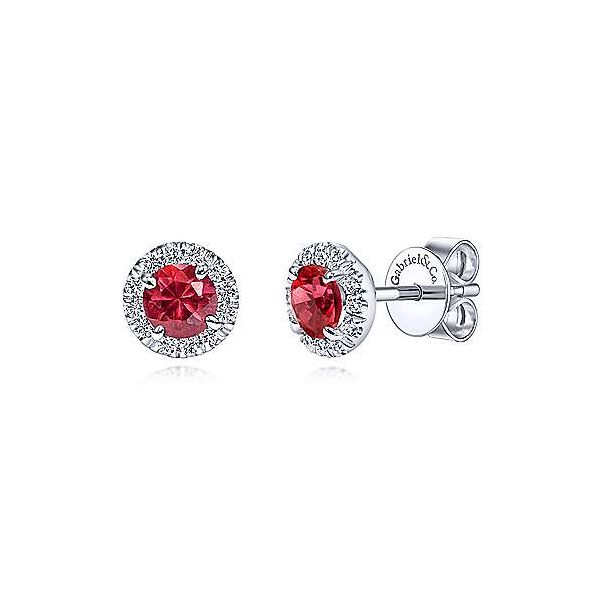 Gabriel & Co. Ruby & Diamond Stud Earrings Meigs Jewelry Tahlequah, OK