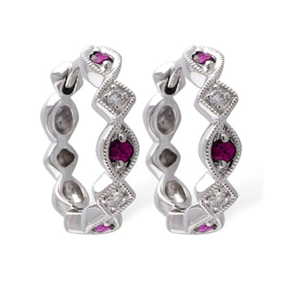 14K WHITE GOLD RUBY AND DIAMOND HOOPS Meigs Jewelry Tahlequah, OK