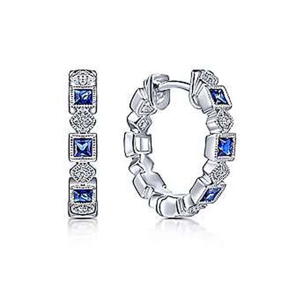 14K White Gold Sapphire & Diamond Hoop Earrings Meigs Jewelry Tahlequah, OK
