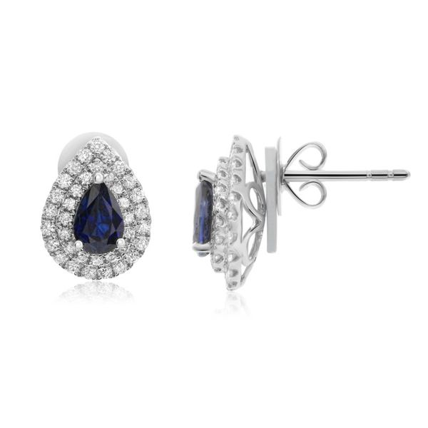 Sapphire & Diamond Halo Stud Earrings Meigs Jewelry Tahlequah, OK