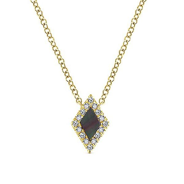 14k Yellow Gold Diamond & Black MOP Necklace Meigs Jewelry Tahlequah, OK