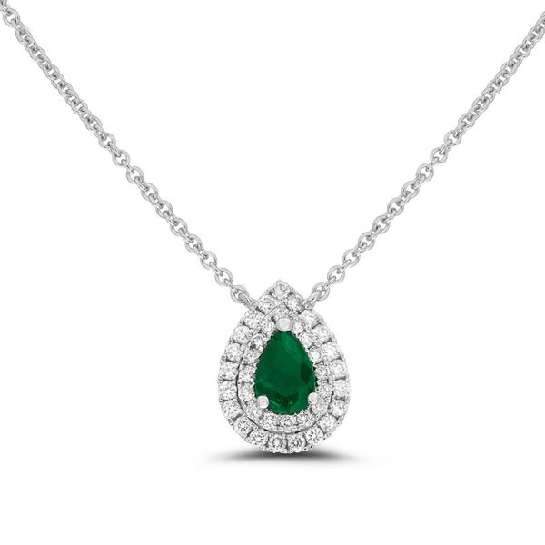 Emerald & Diamond Double Halo Necklace Meigs Jewelry Tahlequah, OK