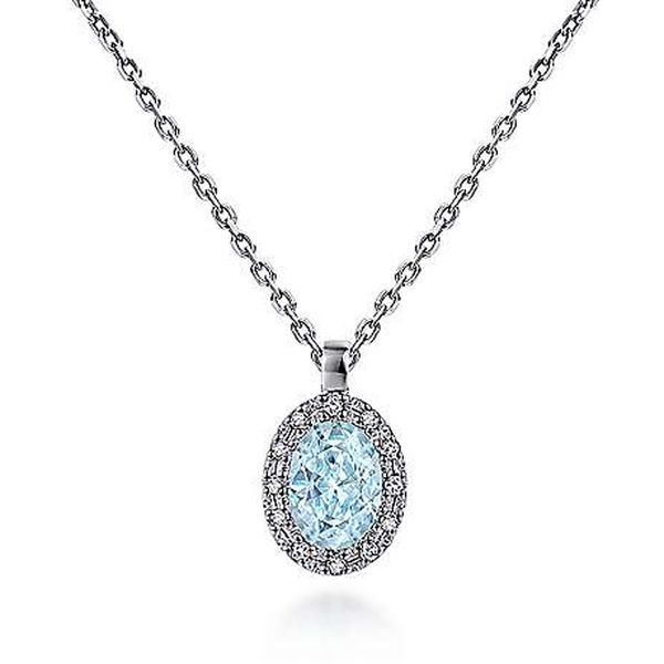 Gabriel & Co. Aqua & Diamond Necklace Meigs Jewelry Tahlequah, OK